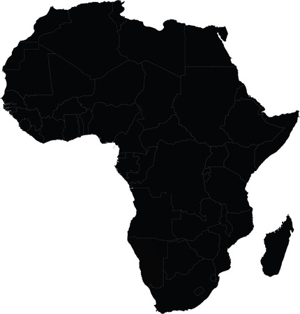 Map of Africa vector with country borders