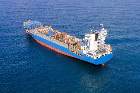Photo pour Large container ship at sea, Aerial image. - image libre de droit