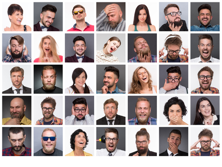 Photo pour Diverse people's faces. Collage of diverse multi-ethnic and mixed age people expressing different emotions and feelings. - image libre de droit