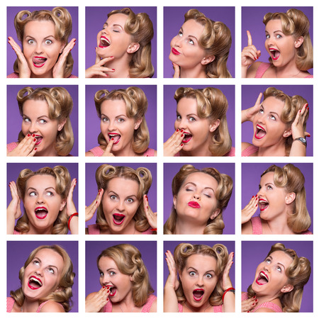 Collage with emotions of young lady in studio. Beautiful lady expressing positive and negative facial emotions.