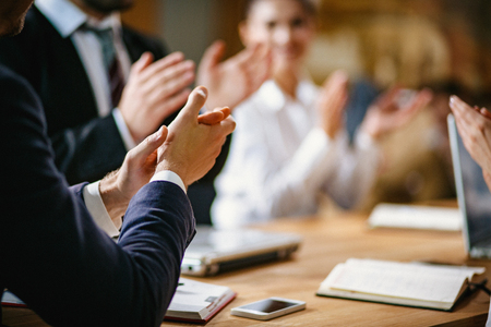Photo for Applauding A Great Success. Selective Focus On Businessmen Hands Clapping On A Meeting. Business Success Concept. - Royalty Free Image