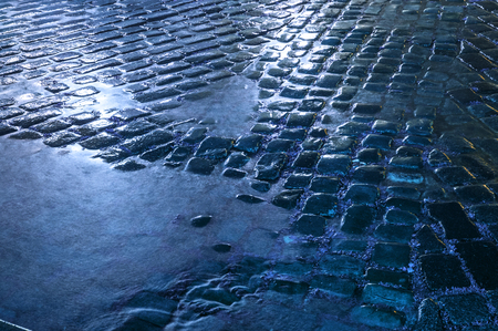 Photo for Wet stone pavement after the rain - Royalty Free Image