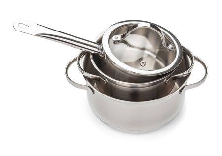 Foto für Set of saucepans close up isolated on white background - Lizenzfreies Bild