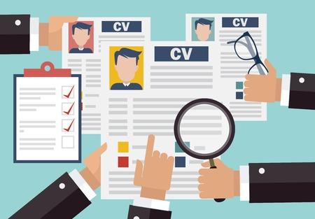 Illustration pour Job interview concept with business cv resume - image libre de droit