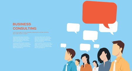 Foto de Group of business people with speech bubbles communicating - Imagen libre de derechos