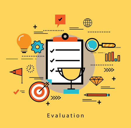 Illustration pour Line flat business design and infographic elements for rating and evaluating customer service, satisfaction feedback and review, performance assessment, quality control and success in business concept - image libre de droit