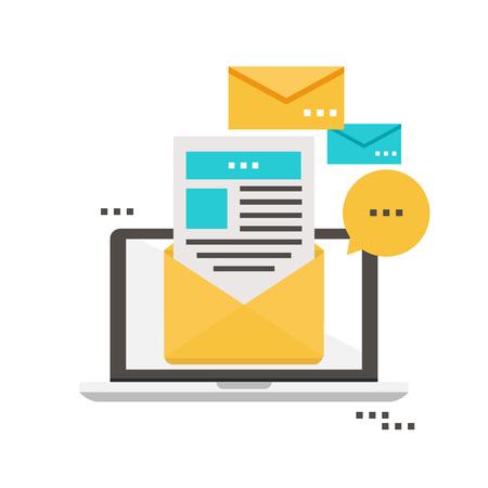 Illustration pour E-mail news, subscription, promotion flat vector illustration design. Newsletter icon flat - image libre de droit