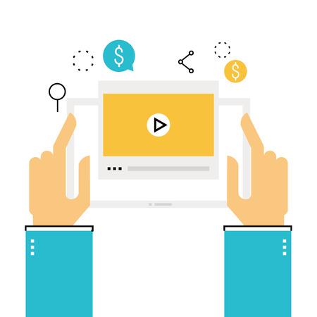 Video ad, digital ad, promotion, online advertisement, vlog, video message, video tutorial flat line vector illustration design for mobile and web graphics