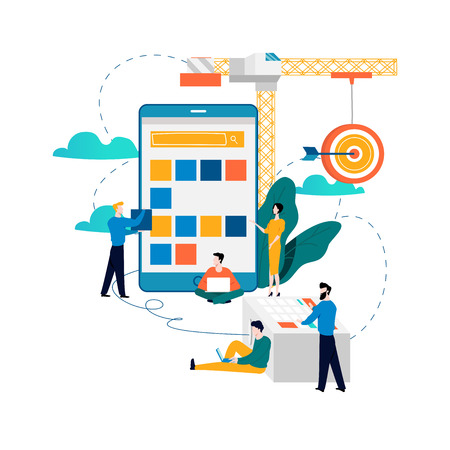 Illustration for Mobile application development process flat vector illustration. - Royalty Free Image