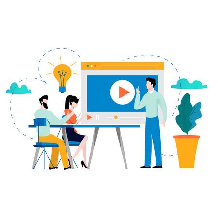 Illustration pour Professional training, education, video tutorial, online business courses, presentation, webinar vector illustration. Expertise, skill development design for mobile and web graphics - image libre de droit
