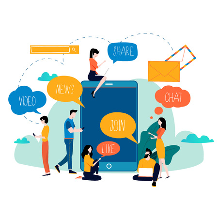 Ilustración de Social media, networking, chatting, texting, communication, online community, posts, comments, news flat vector illustration. People with speech bubbles design for mobile and web graphics - Imagen libre de derechos