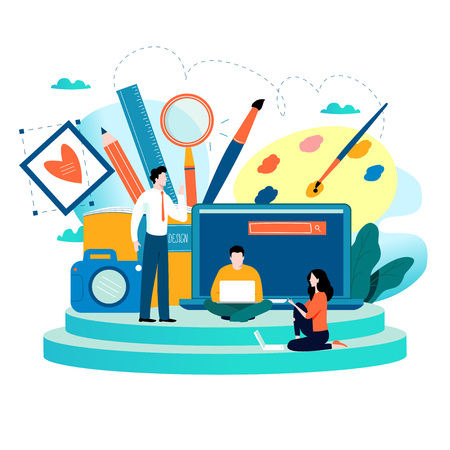 Illustration for Design studio, designing, drawing, photographing, graphic design, education, creativity, art, ideas flat vector illustration. Online courses, books, tutorials for mobile and web graphics - Royalty Free Image