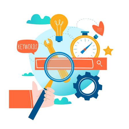 Vektor für SEO, search engine optimization, keyword research, market research flat vector illustration. SEO concept. Web site coding, keywording, internet search optimization design for mobile and web graphics - Lizenzfreies Bild