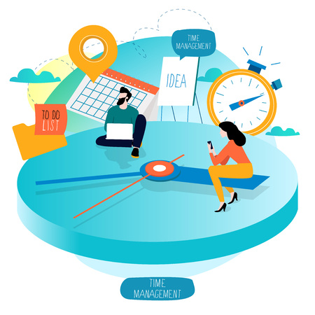 Illustration pour Time management, planning events, working hours, organization, optimization, deadline, schedule flat vector illustration design for mobile and web graphics - image libre de droit