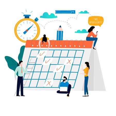 Ilustración de Time management, planning events, organization, time optimization, deadline, planning schedule flat vector illustration design for mobile and web graphics - Imagen libre de derechos