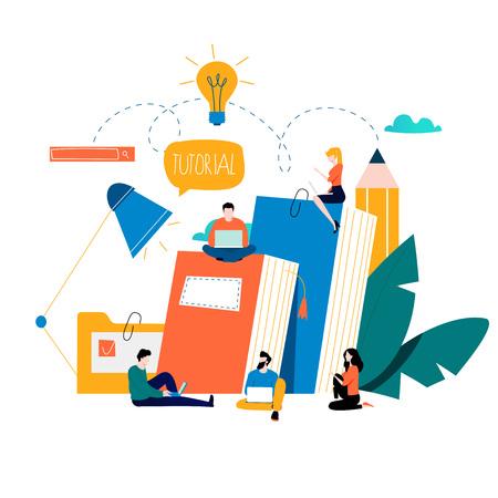 Illustration pour Education, online training courses, distance education vector illustration. Internet studying, online book, tutorials, e-learning, online education design for mobile and web graphics - image libre de droit