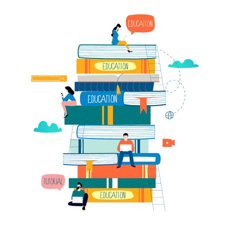 Illustration pour Education and online training courses flat design - image libre de droit