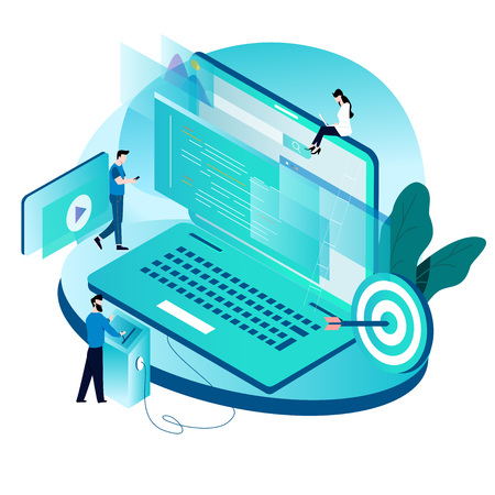 Illustration pour Modern isometric concept for coding, programming, website and application development vector illustration design for mobile and web graphics - image libre de droit