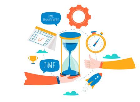 Illustration pour Time management, planning events, business organization, optimization, deadline, schedule flat vector illustration design for mobile and web graphics - image libre de droit