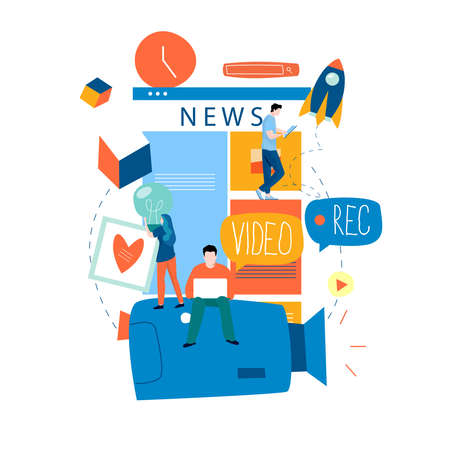 Illustration pour Online news content, news update, news website, electronic newspaper flat vector illustration design. News webpage, information about activities, events, company announcements and information - image libre de droit