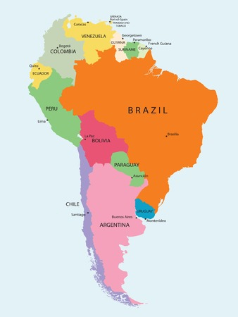 Detailed map of South America, vector