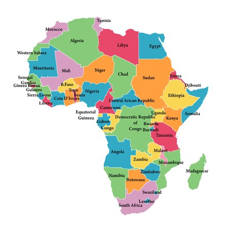 Editable map of Africa with border outlines