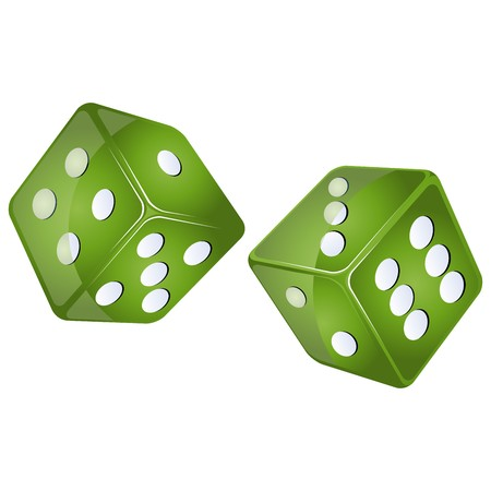green dices, isolated objects against white background