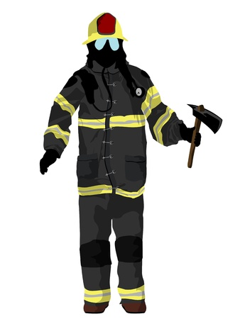 Fully equipped firefighter with axe, isolated and grouped objects over white background