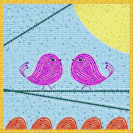 Tweet birds mosaic background, abstract art illustration