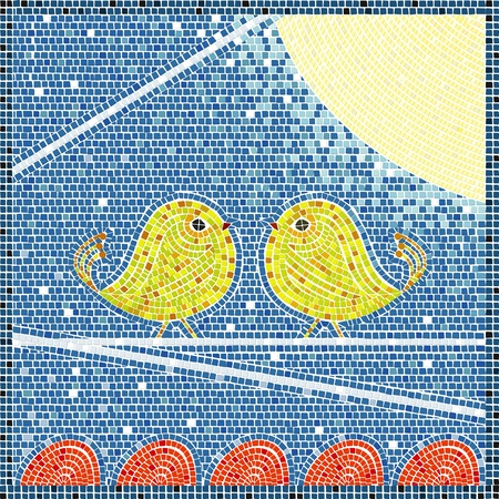 Two bird on a wire in the moon light, mosaic background
