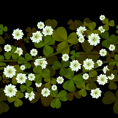 Seamless pattern with clover leaves and flowers over black