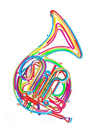 Stylized french horn against white background