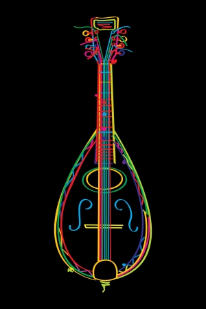 Stylized mandolin in colors over black background