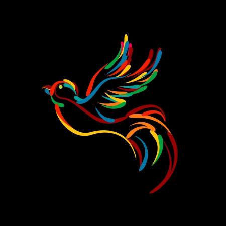 Stylized flying bird icon, isolated objects on black background