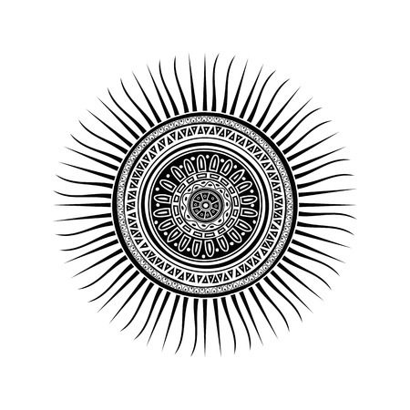 Mayan sun symbol, tattoo design over white background