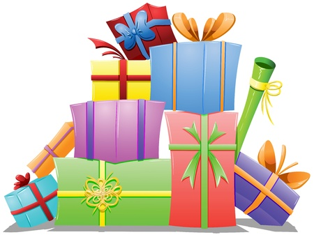 A vector illustration of a pile of gift boxes wrapped for the holidays.