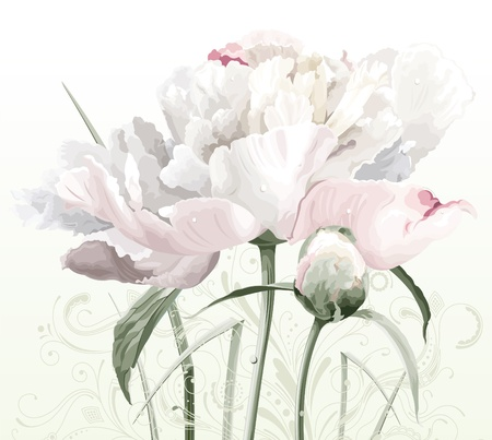 Illustration pour Luxurious white peony flower painted in pastel colors with bud and floral pattern - image libre de droit
