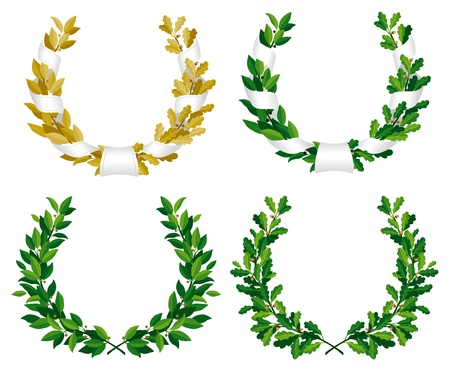 Set of the laurel and oak wreaths with green and bronze leaves