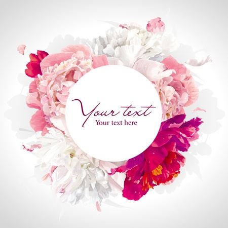 Illustration pour Luxurious pink, red and white peony background with a round label - image libre de droit