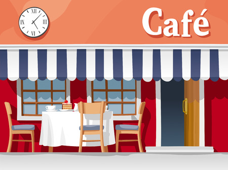 Small street cafe with striped awning, with table and chairs, cups, plates, cake and coffee