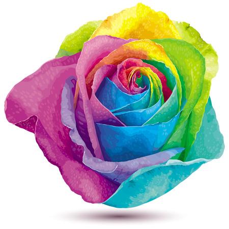 Futuristic rose colored in the spectrum colors