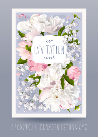 Ilustración de Romantic flower invitation or greeting card for weddings, Valentine's Day and other events with Peonies, leaves, Gypsophila and vintage label. Hand drawn alphabet included. - Imagen libre de derechos