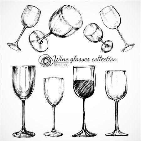Wine glasses - sketch illustration