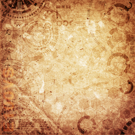 Photo pour Technology background steampunk background with dirty and scratches, cold and brown vintage colors - image libre de droit