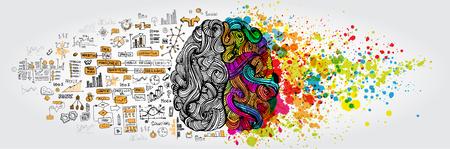 Illustration pour Left right human brain concept - image libre de droit