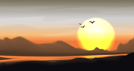 Illustration for Tropical sunset and sundown vector landscape. Mountain panorama with river, palm and hills. Calm vector mountain savanna valley illustration, bright sun and tropic trees. Mountain valley landscape panorama, yellow, brown and grey colors - Royalty Free Image