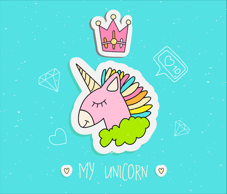Cute cartoon unicorn with crown vector illustration. Happy uni orn with horn and colored hair, pink uni orn in green cloud with line elements, diamond, heart, like. Magic animals - sleeping uni orn isolated on blue