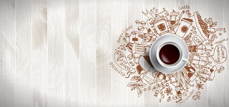 Illustration pour Coffee concept on wooden background - white coffee cup, top view with doodle illustration about coffee, beans, morning, espresso cafe, breakfast. Morning coffee vector illustration. Hand draw. - image libre de droit