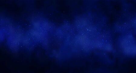 Illustration pour Vector illustration of Cosmos Space background with starry sky, star massive in deep cosmos in blue and black colors. Abstract futuristic, technology, astrology background. Deep space background - image libre de droit
