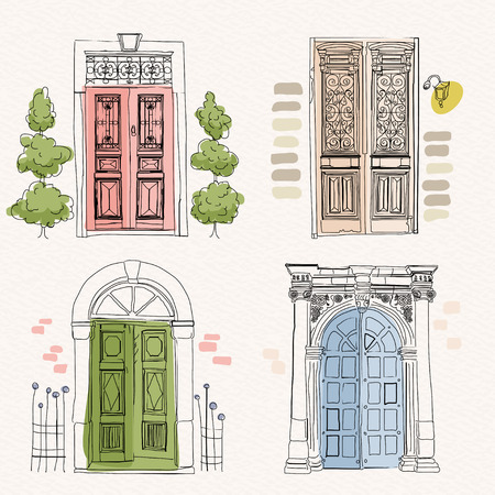 Old doors in vintage style on watercolor background